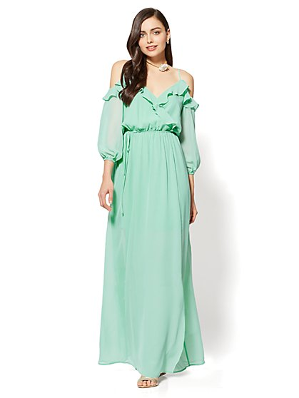 Ruffle Bare-Shoulder Maxi Dress - New York & Company