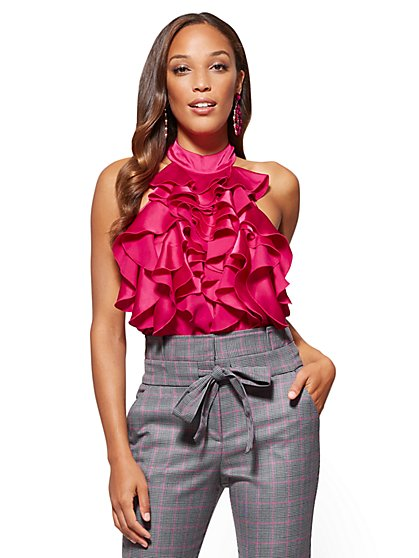 Ruffle Bib Blouse  - New York & Company
