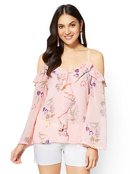 Ruffle Cold-Shoulder Blouse - New York & Company