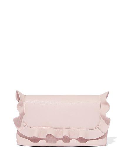 Ruffle-Trim Clutch Handbag - New York & Company