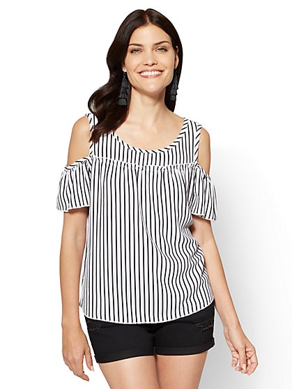 Ruffled Cold-Shoulder Blouse - Stripe - New York & Company