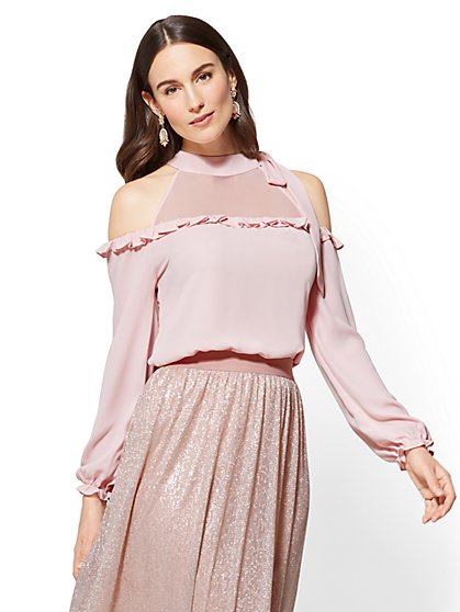 Ruffled Cold-Shoulder Blouse - New York & Company