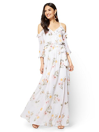 Ruffled Cold-Shoulder Maxi Dress - Floral - New York & Company
