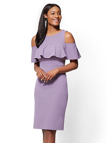 Ruffled Cold-Shoulder Sheath Dress - New York & Company