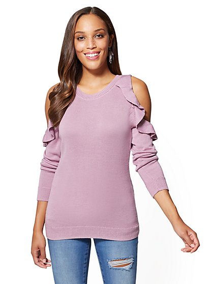 Ruffled Cold-Shoulder Sweater - New York & Company