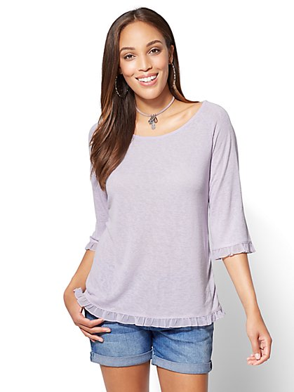 Ruffled Envelope-Back Top - New York & Company