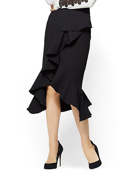Ruffled Flare Skirt - Black - New York & Company