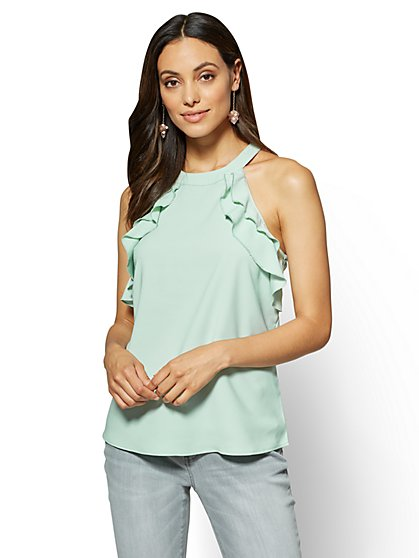 Ruffled Halter Blouse - New York & Company
