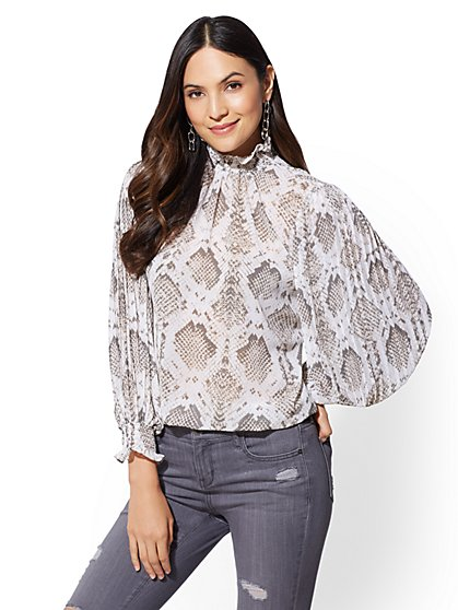 Ruffled High-Neck Blouse - New York & Company
