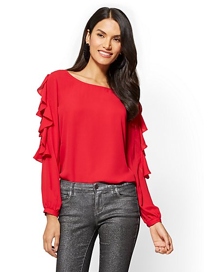 Ruffled & Lace-Accent Blouse - New York & Company