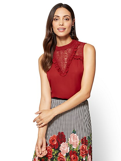 Ruffled & Lace-Accent Sleeveless Blouse  - New York & Company