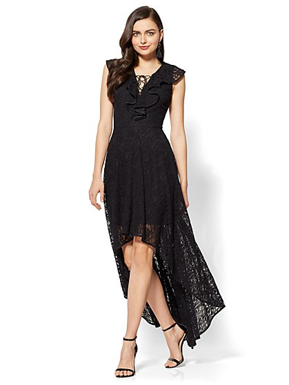 Ruffled Lace-Up Hi-Lo Maxi Dress - New York & Company