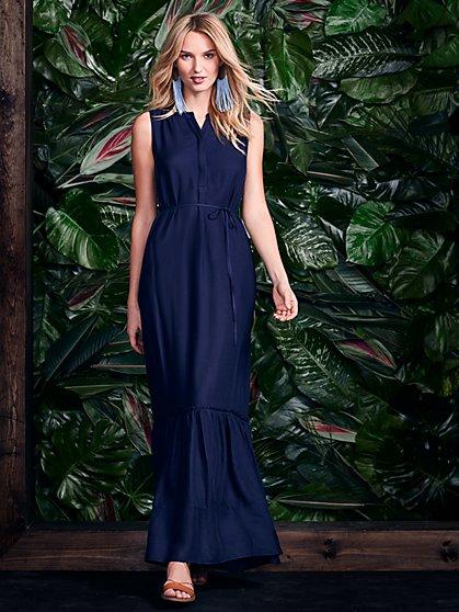 Ruffled Maxi Dress - Navy - New York & Company