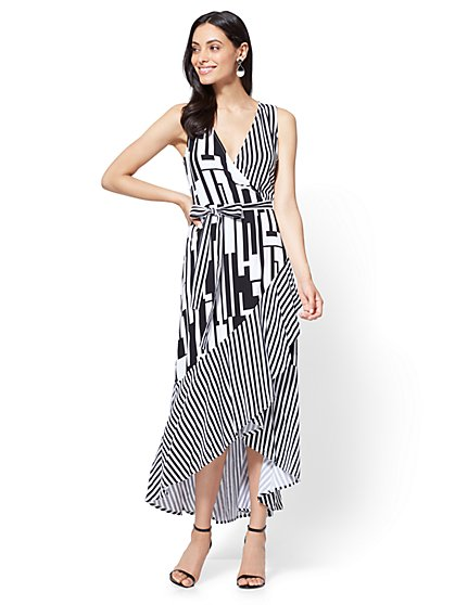 Ruffled Maxi Wrap Dress - Stripe - New York & Company