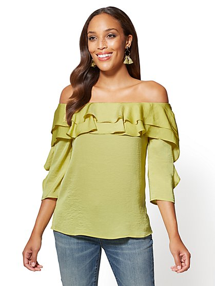 Ruffled Off-The-Shoulder Blouse - New York & Company