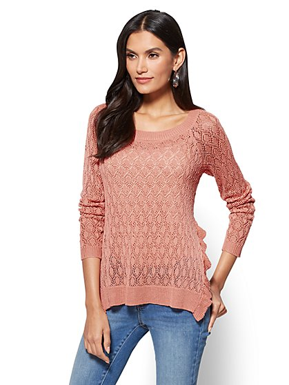 Ruffled Open-Stitch Sweater - New York & Company
