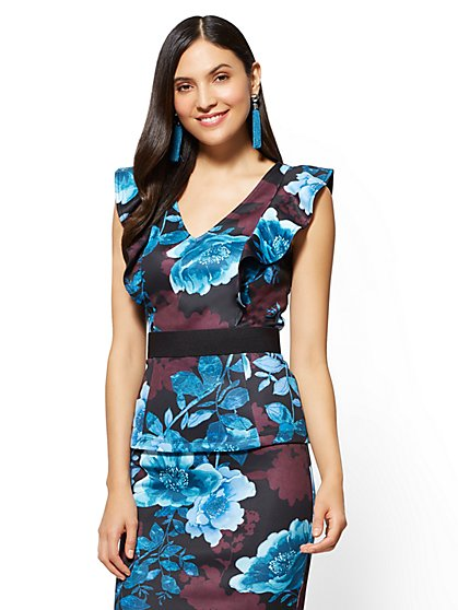 Ruffled Peplum Top - Black - Floral - New York & Company
