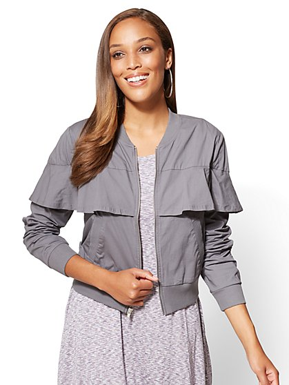 Ruffled Poplin Bomber Jacket - New York & Company