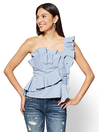 Ruffled Poplin One-Shoulder Shirt - New York & Company