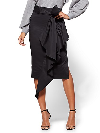 Ruffled Poplin Wrap Skirt  - New York & Company