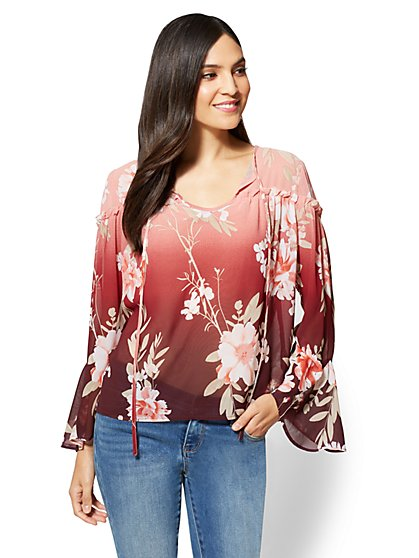 Ruffled Self-Tie Blouse - Floral - New York & Company