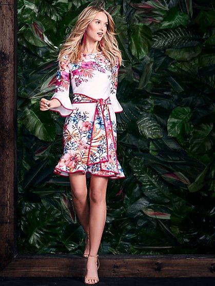 Ruffled Sheath Dress - Floral - New York & Company