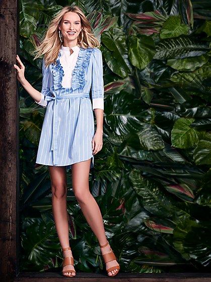 Ruffled Shirtdress - Blue & White Stripe - New York & Company