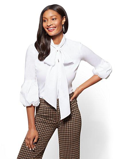 Ruffled-Sleeve Keyhole Poplin Shirt - Tall - New York & Company