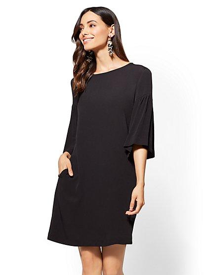Ruffled-Sleeve Shift Dress - New York & Company