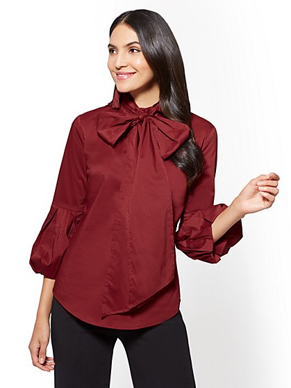 Ruffled-Sleeve Tie-Detail Poplin Shirt - Petite - New York & Company