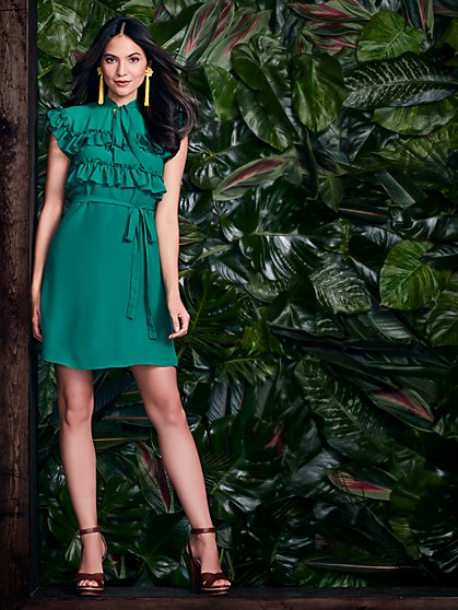 Ruffled & Tie-Detail Shift Dress - Green - New York & Company