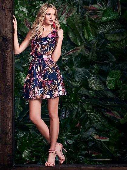 Ruffled V-Neck Flare Dress - Floral - New York & Company