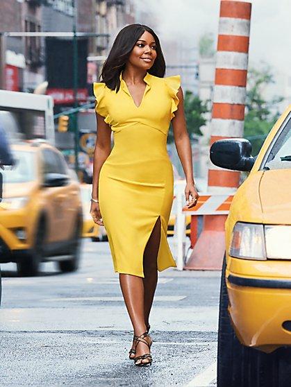 Ruffled V-Neck Sheath Dress - Tall - New York & Company