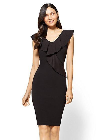 Ruffled V-Neck Sheath Dress - New York & Company