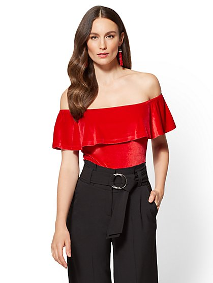Ruffled Velvet Bodysuit - New York & Company