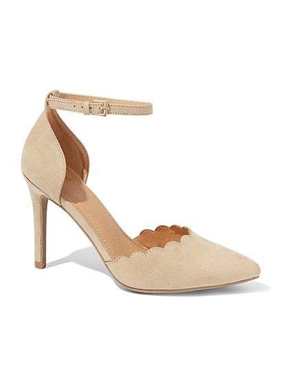 Scallop-Edge Ankle-Strap Pump - New York & Company