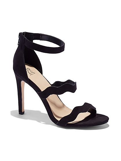 Scallop-Strap Faux-Suede Sandal  - New York & Company