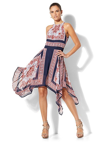 Scarf-Hem Halter Dress - New York & Company