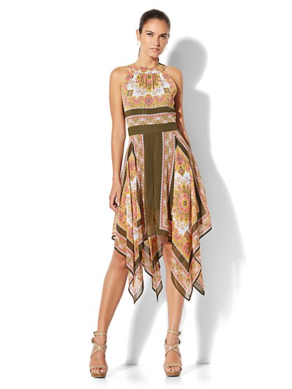 Scarf-Hem Halter Dress - New York & Company