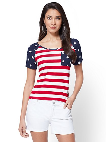Scoopneck Tee - Stars & Stripes - New York & Company