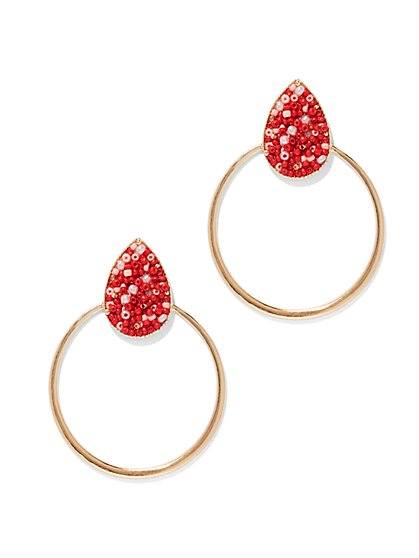Seed Bead-Accent Hoop Earring  - New York & Company