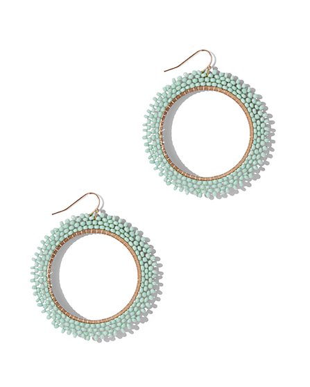 Seed Bead Hoop Drop Earring  - New York & Company