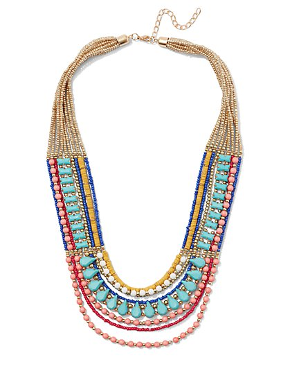 Seed Bead Multi-Row Necklace  - New York & Company
