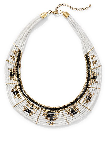 Seed Bead Statement Collar Necklace  - New York & Company