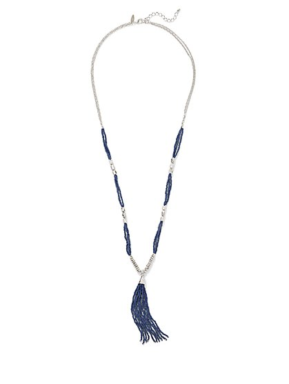 Seed Bead Tassel Pendant Necklace  - New York & Company