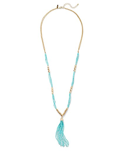 Seed Bead Tassel Pendant Necklace  - New York & Company