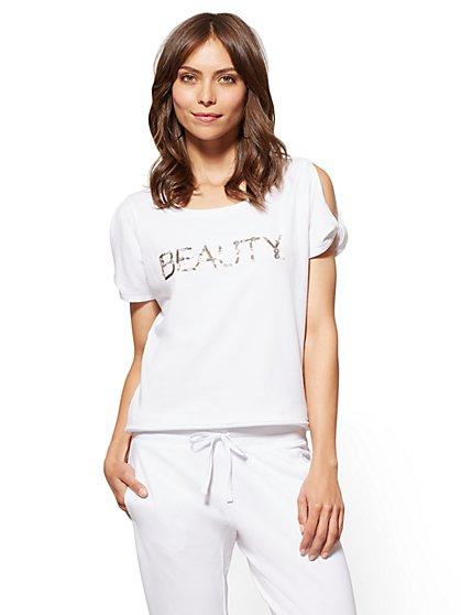 "Sequin ""Beauty"" Graphic Logo Tee - New York & Company"