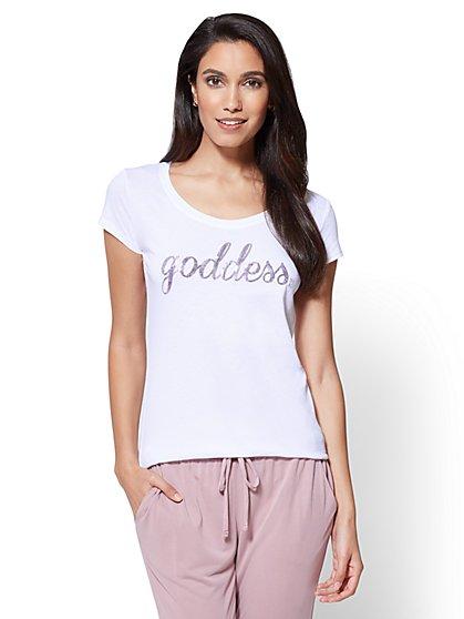 "Sequin ""Goddess"" Graphic Logo Tee - New York & Company"