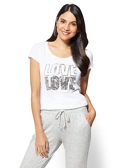 "Sequin ""Love Love"" Graphic Logo Tee - New York & Company"