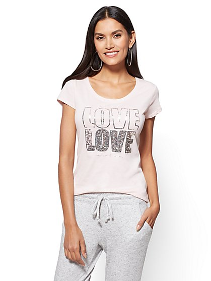 "Sequin ""Love Love"" Graphic Logo Tee - New York & Company"